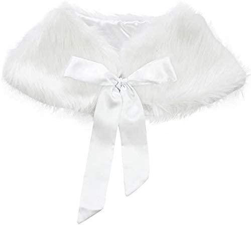 Morbido mantello per ragazze in finta pelliccia con fiocco e fiocco principessa in peluche, spalle Bolero, matrimonio, compleanno, festa, sera, inverno, caldo, per la spalla, regalo