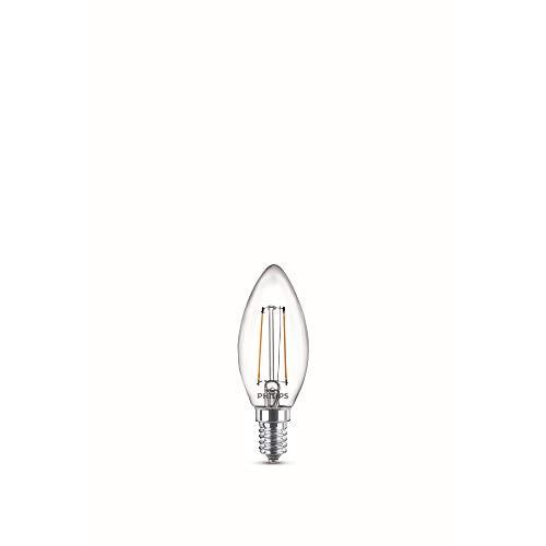 Philips Lampadina LED Candela Filamento, 2 Pezzi, Equivalente a 25W, Attacco E14, Luce Bianca Calda, non Dimmerabile