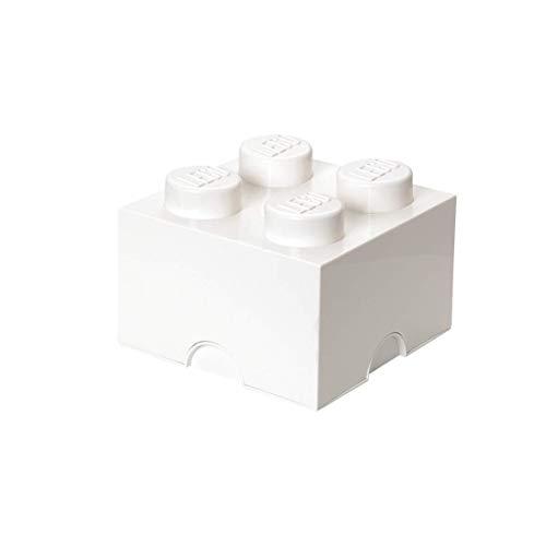 LEGO Aufbewahrungsstein, 4 Noppen, Stapelbare Aufbewahrungsbox, 5,7 l, weiß
