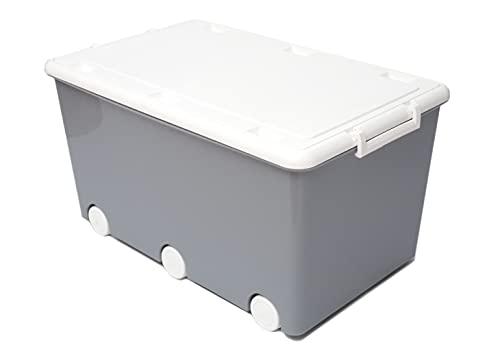 LAPSI® Spielzeugkiste, Aufbewahrungsbox mit 6 Rollen mit Deckel auf Rädern Grau Eule