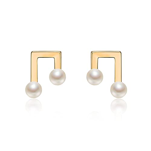 OMTONGXIN Pendientes Pendientes de Perlas Pequeñas Nota Diseño Creativo 925 Plata 4-5mm Pendientes de Perlas de Agua Dulce Pendientes de Bola para Mujer