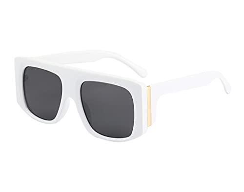 JINZUN Gafas de Sol de Moda Tendencia Gafas de Sol de Montura Grande Anti-UV Sombrilla Espejo Unisex Blanco Real