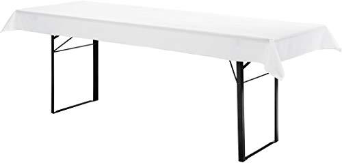 Hussenkönig Tischdecke für 70cm Biertische Hussen für Biertisch Biertischhussen Biertisch-Husse Bierzeltgarnitur Hussen Weiß