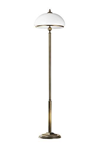 Stehlampe Messing antik Weiß aus Metall Glas 170cm Jugendstil MARLOW Wohnzimmer Lampe Stehleuchte