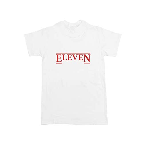 Stranger Things Undici T Shirt a testa in giù Netflix Retro Top Unisex CAST Hawkins Regalo bianco XX-Large