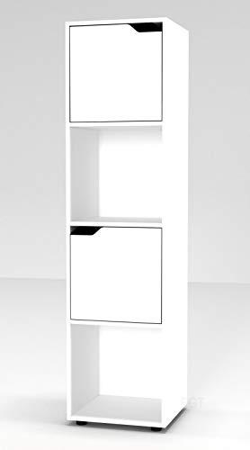 Estantería de URBNLIVING, de madera, con forma cúbica, con puertas , madera, White Bookcase and White Door, 4 Cube