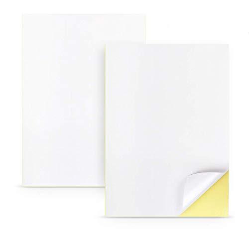 Sylon Lot de 50 feuilles de papier adhésif Blanc Format A4 210 x 297mm