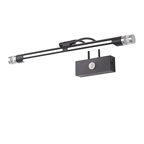 ACMHNC Luz para Baño con Sensor De Movimiento, LED Aplique de Espejo con Cabeza de Lámpara 180° Giratoria, 4000K Lámpara LED de Pared Luz de Gabinete IP44 Iluminación para Espejo,Negro,53cm / 8W