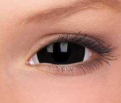 Farbige Mini Sclera Kontaktlinsen Lenses - 27 Modelle - 17mm, 1Paar (2 Stück), ohne Stärke, Gratis Behälter (Mini Black Sclera)