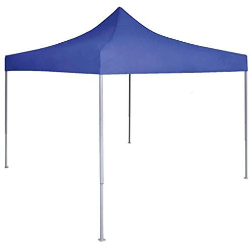 vidaXL Tente de Réception Pliable Professionnelle Tonnelle d'Extérieur Chapiteau de Jardin Belvédère Voyage de Camping Barbecue Mariage 2x2 m Acier Bleu