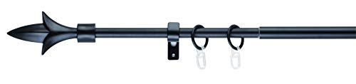 Gardinenstange ausziehbar 1-lauf Endstück Lance Komplettgarnitur Teleskopgarnitur 13/16 mm Gardinenringe Faltlegehaken Komplettset 130-240 cm Schwarz