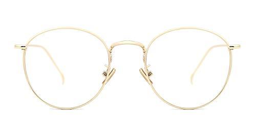 TIJN Neue Rund Metall Brillengestelle Herren Brille Ohne Stärke Metallgestell Brillenfassung Damen Herren (Henk-Gold)