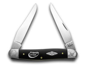 CASE XX Friends of Coal Black Delrin Scrolled Bolster 1/500 Muskrat Pocket Knife Knives