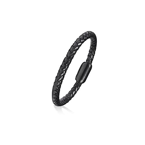 FANCIME Hombre Cuero Pulsera Color Negro con Cierre Magnético Regalo de Joyería para Hombre Niños - Longitud 21CM
