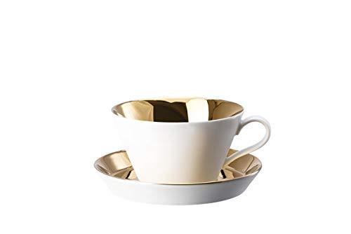 Arzberg Rosenthal 49700-650014-14850 Tric - Cafe au Lait - 2-TLG. - Tasse mit Untertasse - Gold titanisiert