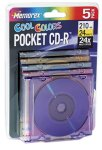 5-pack Pocket Mini CDR 24 Media Cool Colors 24x 210MB with slim (Discontinued by Manufacturer)