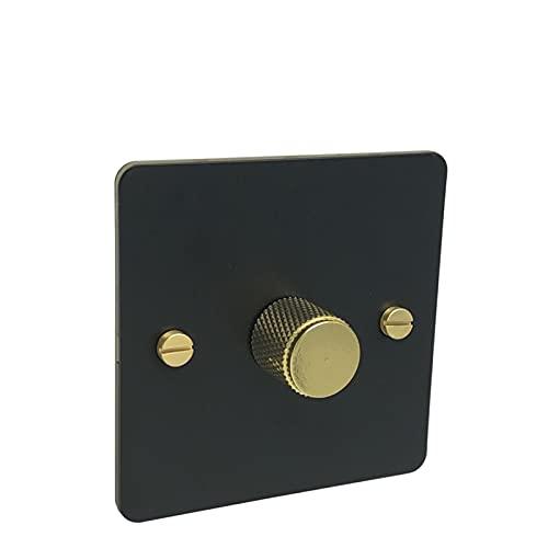 HLY-CASE Interruptor de dimmer de Color Negro y Perilla de Metal de Color Dorado y Puede funcionar con lámpara LED Diseño Elegante