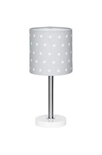 Lámpara de mesa, diseño de lunares, color gris y blanco