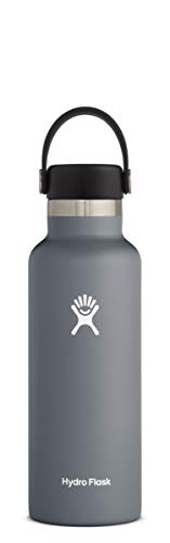 Hydro Flask Standard Mouth Botella de Agua Isotérmica, 18/8 Stainless Steel, Gris (Stone), 532ml (18oz)