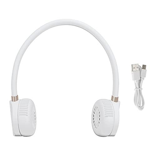 Ventilador Personal para Colgar en el Cuello, Blanco Ventilador Portátil Innovador con Carga USB Ventilador de Refrigeración Personal Portátil con Ajuste de 3 Velocidades para la Oficina