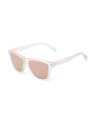 HAWKERS Gafas de Sol LS Rose Gold, para Hombre y Mujer, con Montura translúcido Mate y Lentes Rosas con Efecto, Protección UV400, Transparente/Rosa espejo, One Size Unisex-Adult