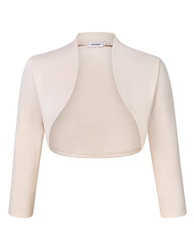 Damen Bolero Kurze 3/4 Ärmel Strickjacke Schulterjacke Shrug Top Elegant Leichte Cardigan Casual Top