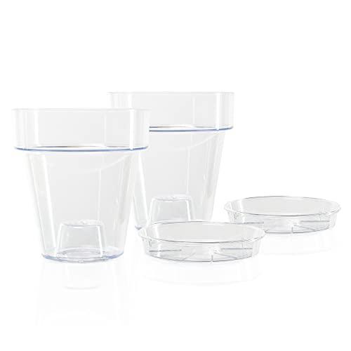 Kalapanta Vaso per Orchidee trasparente in plastica con Fori Drenaggio e Sottovaso - Diametro 16 cm (Confezione doppia)