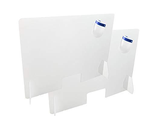 Twee beschermingswanden voor tentoonstellingen, tafels, bars, bureaus, afmetingen 80 cm breed x 60 cm hoog, 3 mm dik, raam 15 x 26 cm, plexiglas, transparant, eenvoudige montage.