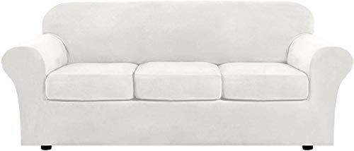 DIELUNY Funda de sofá de terciopelo con 2 fundas de cojín separadas, elástica, ultra suave, protector de muebles antideslizante con parte inferior elástica (marfil, 3 plazas (173-229 cm)