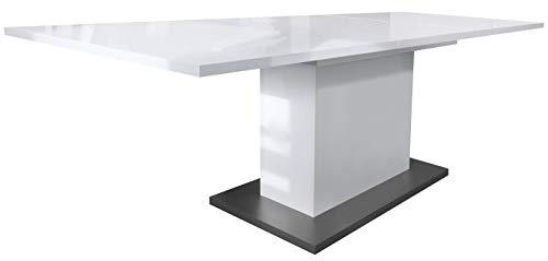 Vladon Esstisch Wohnzimmertisch Stella ausziehbar 165/220 x 90 x 75 cm in Weiß Hochglanz, Bodenplatte in Anthrazit matt