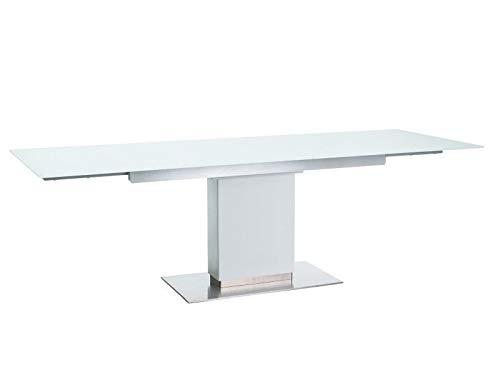 Sellon24/Signal Esstisch Wohnzimmertisch ausziehbar 160(240)-90 cm weiß Glas modern Design Horizon