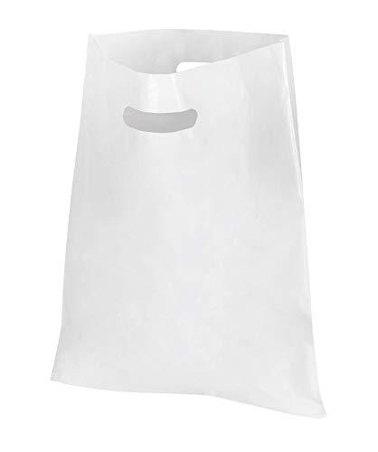4ilius 100-1000 DKT Tragetaschen Plastiktüten Grifflochtragetasche Plastik Beutel Tüte Tüten weiß Einkaufstüten Poly Tragetasche ldpe Plastik extra stabil reissfest 50my - 37x44+2x4cm (1000)