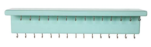 SANY DAYO HOME Jewelry Organizer with 30 Hooks and Cosmetics Shelf, 15 x 3 x 4 inches Wall Mounted Rustic Pine Wood Holder for Necklaces and Bracelets, Suitable for Kids and Adults (Aqua)