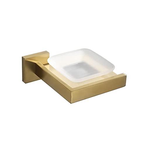 WXDL Portasapone da Muro Alluminio Scatola di Sapone Oro Spazzolato Porta Sapone Doccia per Bagno Doccia Cucina