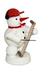 Sneeuwpop muzikant met zingende zaag hoogte 8 cm NIEUW kerstfiguur tafelfiguur hout Ertsgebergte