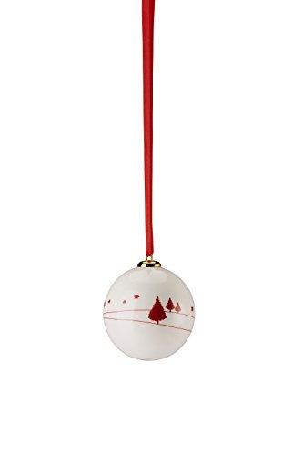 Hutschenreuther Merry Christmas Nordic Red Petit Boule Porcelaine Hiver/Ø 6 cm, Porcelaine, Rouge, 7 x 7 x 9 cm