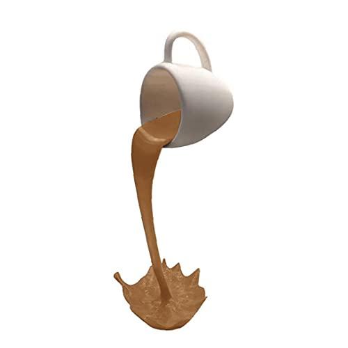 Escultura suspendida Taza divertida de la resina Líquido de colada flotante taza de café de la decoración del hogar del regalo de cumpleaños Adornos Brown Style2, de interior y al aire libre