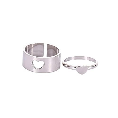 2 unids/set dulce amor en forma de corazón de cobre anillo de pareja ajustable mujeres hombres compromiso boda metal Split joyería dulce pareja anillo