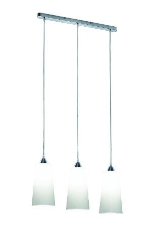 Reality Leuchten Pendel-/Hängeleuchte nickel matt / Glas opal weiß / 3 x E27 max. 60W / ohne Leuchtmittel / Breite - 60 cm o 15 cm ABH - max. 130 cm R30553001