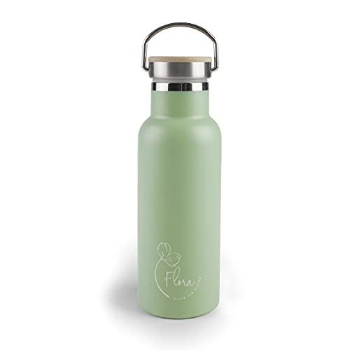 Lacor - 62556 - Botella Acero Inoxidable Flora, Botella de Agua, Doble Pared de Aislamiento, Tapón de Madera con Anilla para Colgar, Libre BPA, Capacidad: 0.5 L, Verde