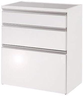 キッチンカウンター ステンレスキッチンカウンター 艶出しホワイト 幅80cm レンジ台 レンジボード キャビネット 日本製 完成品