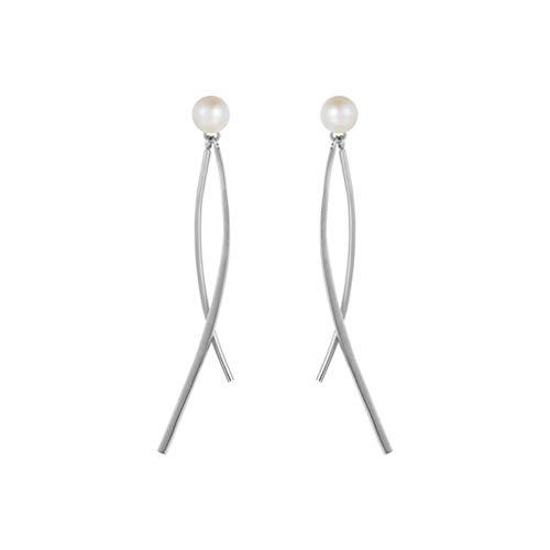 LYQZ Pendientes de Perlas de Agua Dulce, con 925 Gotas de Plata de la Borla Eardrops, se Puede Utilizar como un Regalo para Las Mujeres