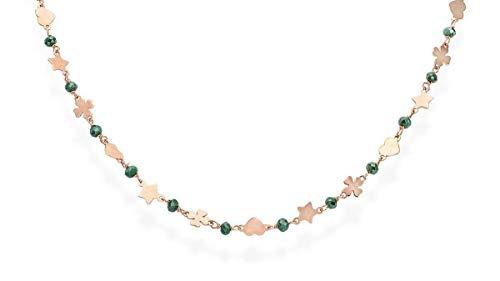 Collana donna argento 925 Amen Cristalli Quadrifoglio Stella Cuore CLCQSRV