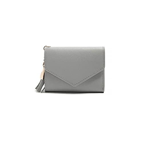 FEINENGSHUAInsqb Bolso Monedero, Billetera pequeña de Las señoras, Cuero ultraphino PU, Compacto, fácil de Transportar, una Variedad de Colores para Elegir (Color : Gray)