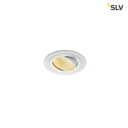 SLV LED Deckeneinbaustrahler NEW TRIA 110 I TRIAC C , TRIAC L, rund, single, 2700K, CS, Clipfeder, weiß, Einbauleuchte, Deckenstrahler, dreh- und schwenkbare Deckeneinbauleuchte, Indoor