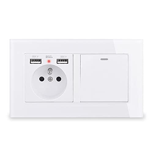 YUANJING-Interruptor de pared con 2 puertos de carga USB + 1 Gang 1 Way Interruptor de luz basculante panel de cristal negro blanco (voltaje clasificado: 110-250 V, tipo: gris)