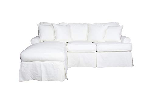 Sunset Trading Horizon Slipcovered Chaise in Warm White Sleeper Sofa, Small,