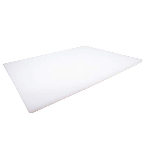 Professional Plastic Cutting Board, HDPE Poly for Restaurants, Dishwasher Safe and BPA Free, 24 x 18 x 0.5 Inches, White