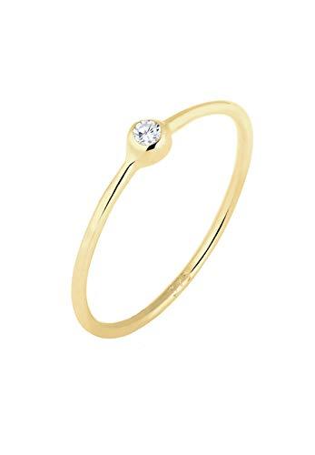 Elli PREMIUM Ring Damen Solitär mit Zirkonia Kristall in 375 Gelbgold