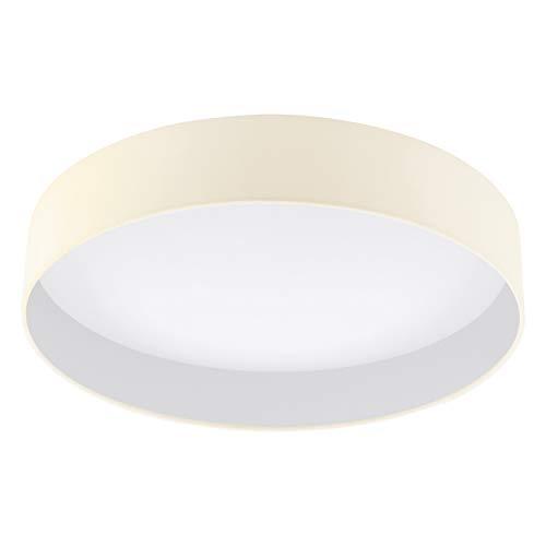 EGLO LED Deckenlampe Palomaro, Deckenleuchte Stoff, Wohnzimmerlampe aus Textil, Kunststoff, Farbe: creme, weiß, Ø: 50 cm